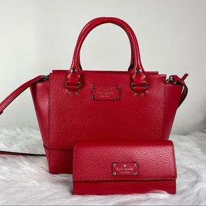 Kate Spade Red Small Camryn Satchel & Wallet